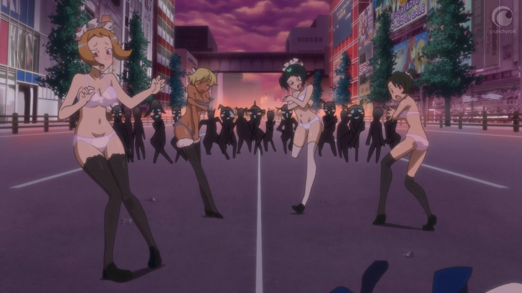 Four women who had been wearing maid costumes stand only in bras, pants, thigh-high socks and shoes after Tamotsu has ripped their costumes off them. They are in the middle of the street in Akihabara at dusk, with shadowy monsters standing at a distance behind them, blushing as they look at the embarrassed women trying to cover themselves with their hands.