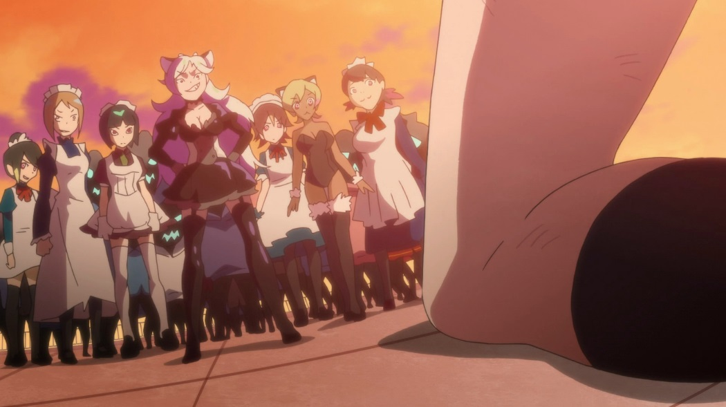 Matome's knee in the foreground as she faces a group of Bugged Ones, all women in maid outfits and/or animal ears and/or thigh high socks.