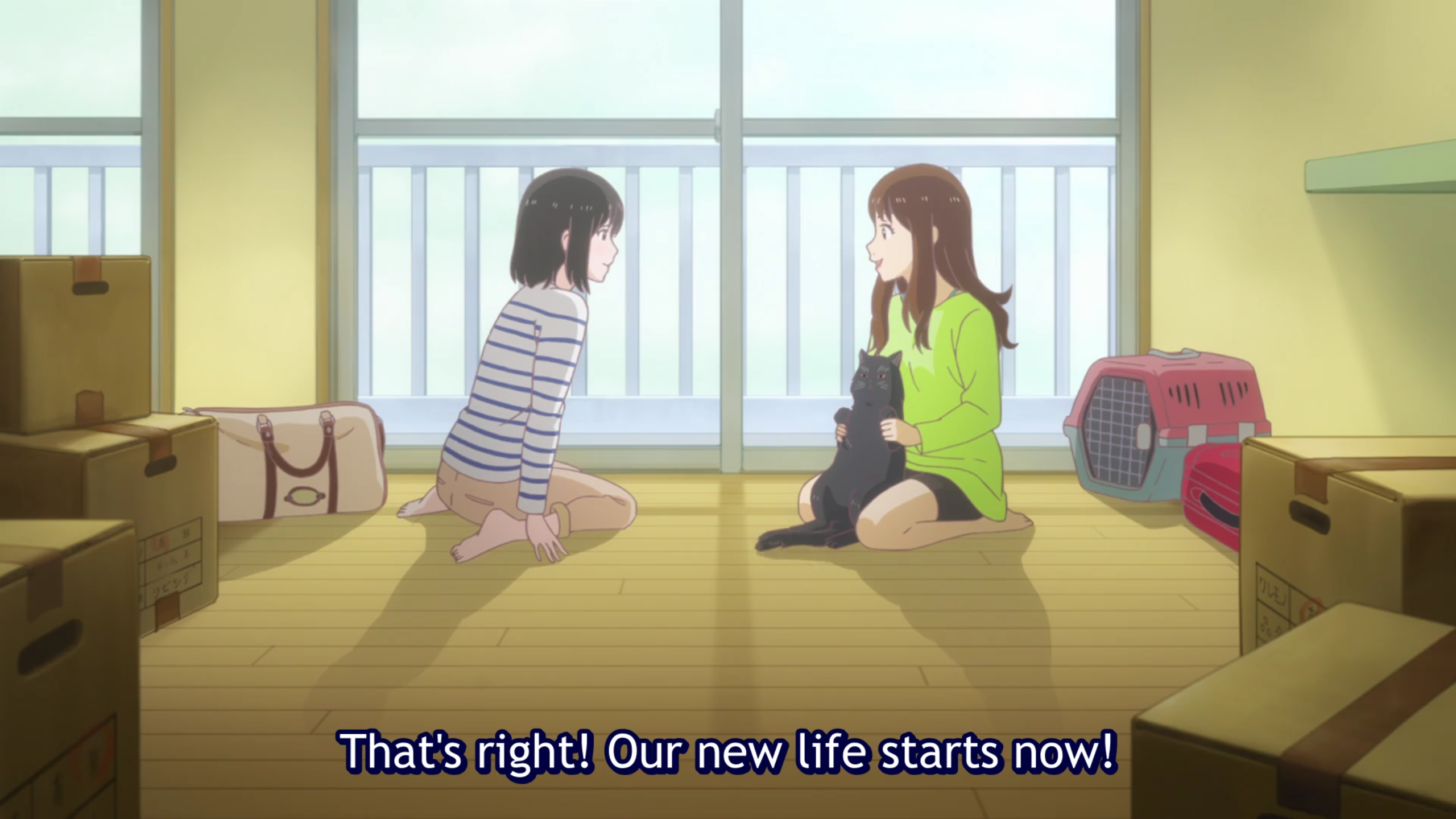 "Miyu and Tomoka sit with Daru the cat in their shared apartment, the room empty apart from some boxes. Subtitle: ""That's right! Our new life starts now!"""