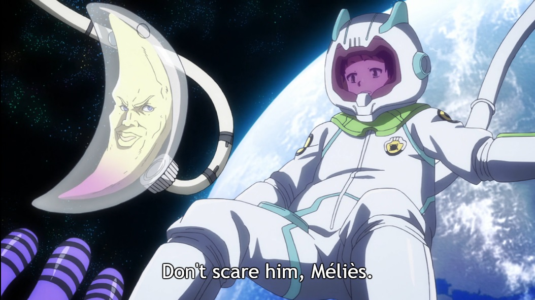 "With Earth as a backdrop, Chuta floats in a spacesuit, while next to him a crescent moon shaped alien with a face in a crescent-shaped space container does the same. Subtitle: ""Don't scare him, Melies."""