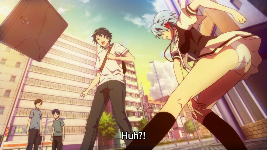 "Yuu looks on in horror as Fuuka throws his phone to the ground, smashing it, while the wind blows her short skirt up to reveal her underwear. Subtitle: ""Huh?!"""