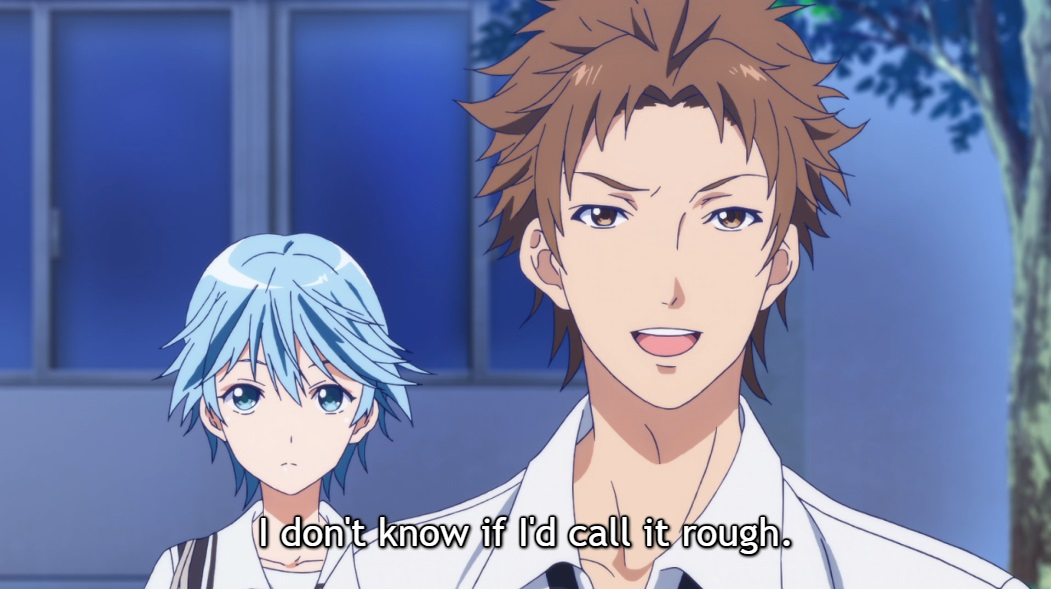 "The guy who was grabbing Fuuka stands in front of her, smiling as he speaks. Subtitle: ""I don't know if I'd call it rough."""