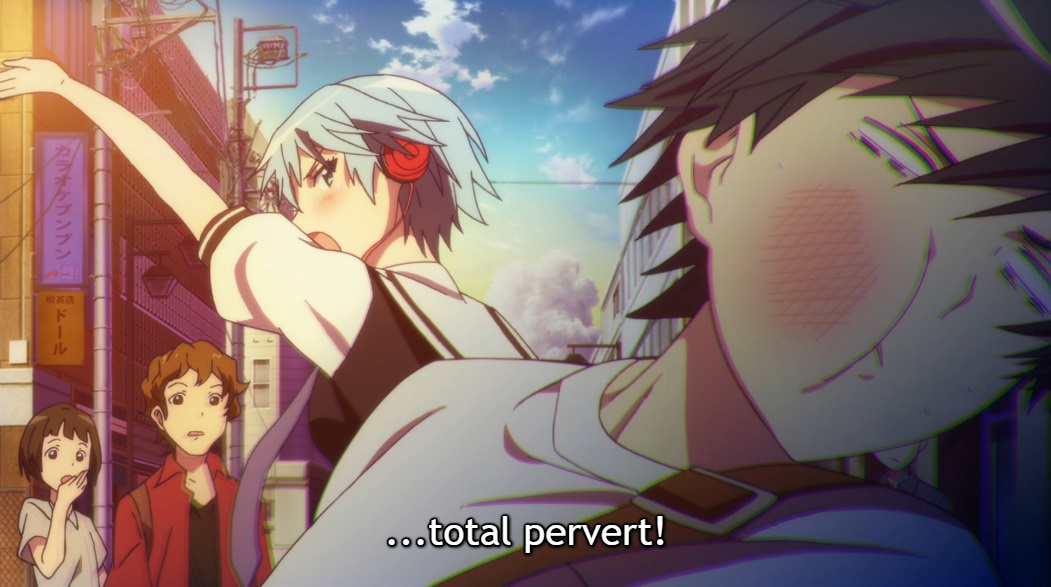"Fuuka has just smacked Yuu in the face, and Yuu is reeling with his cheek red and swollen. Subtitle: ""...total pervert!"""