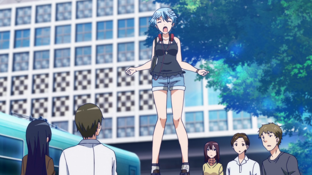 Fuuka stands in casual clothes on something to raise her above a surprised crowd, as she shouts at the top of her voice.