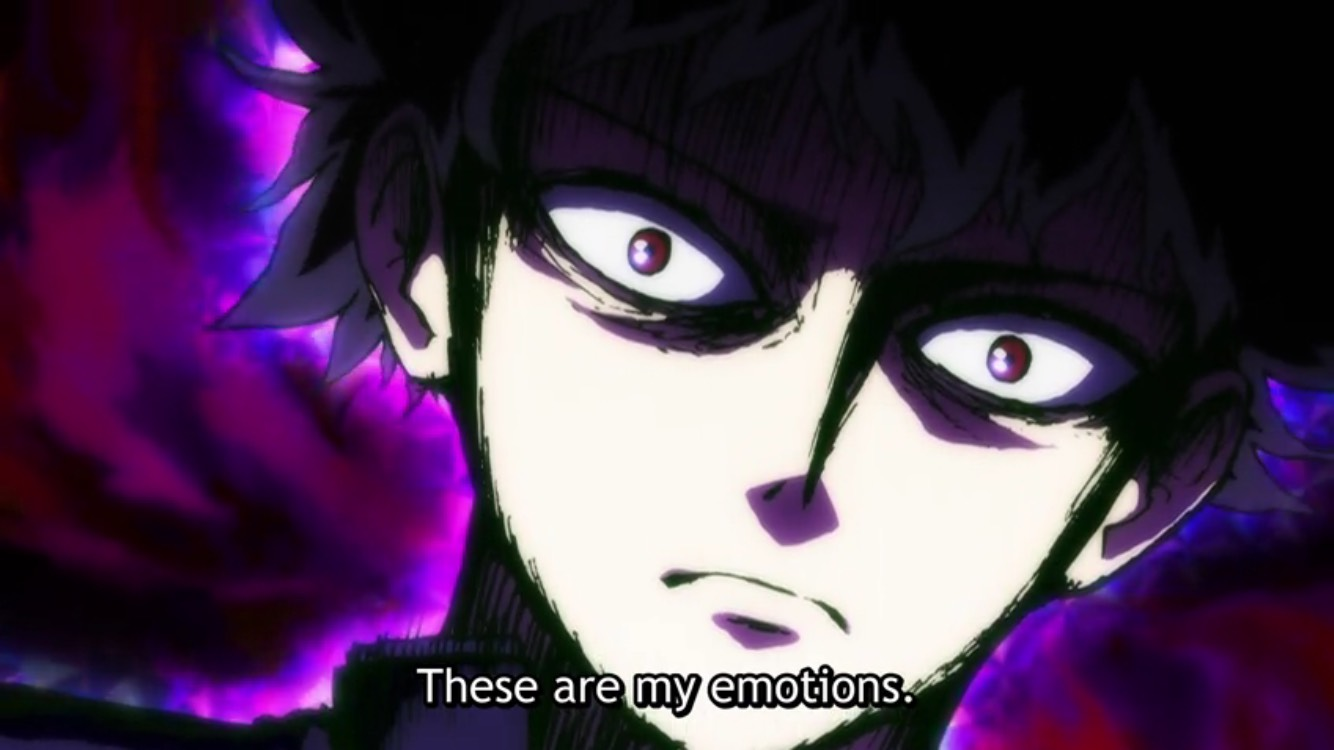"Close-up of Mob from Mob Psycho 100 with psychic powers activated. Subtitle: ""These are my emotions."""