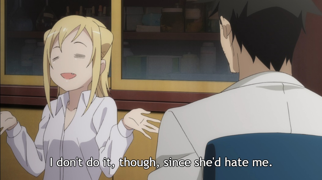 "Back in Takahashi's office, Hikari shrugs and smiles. Subtitle: ""I don't do it, though, since she'd hate me."""