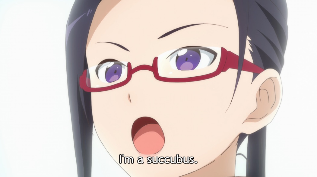 "Close-up of Satou-sensei's face, with black hair tied back and red glasses, as she speaks firmly. Subtitle: ""I'm a succubus."""