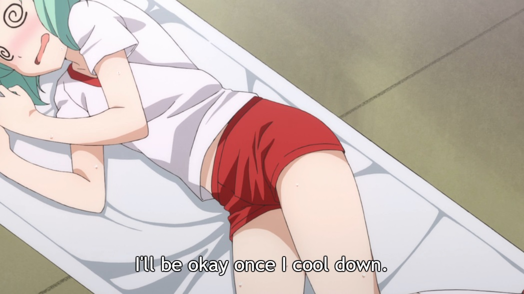 "A blue-haired girl with swirly eyes and a flushed face lies on a stretcher in red shorts and a white T-shirt. Subtitle: ""I'll be okay once I cool down."""