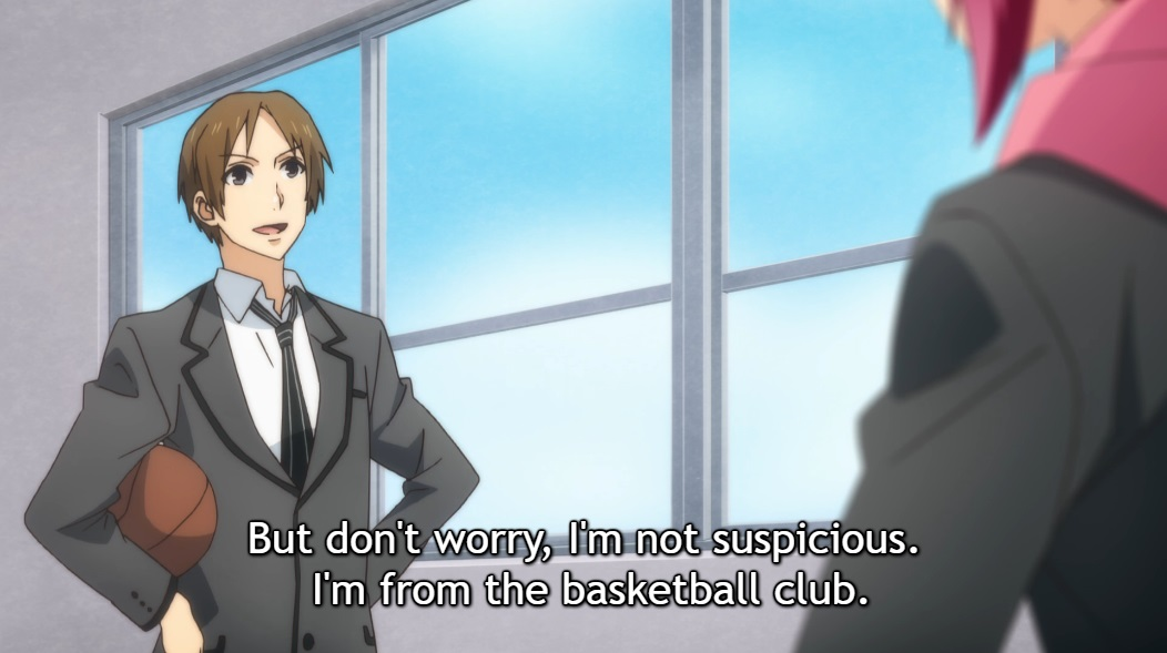 "A boy in school uniform stands confidently, hands on hips and a basketball under one arm, facing Atom, L and R in school. Subtitle: ""But don't worry, I'm not suspicious. I'm from the basketball club."""