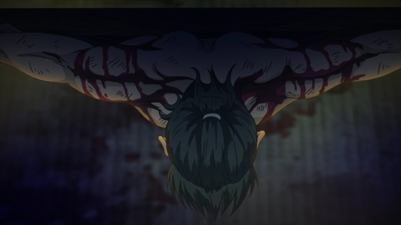 A bird's eye view of Kumehachi strapped to a board with his arms stretched out, head hanging down and shoulders streaked with blood.