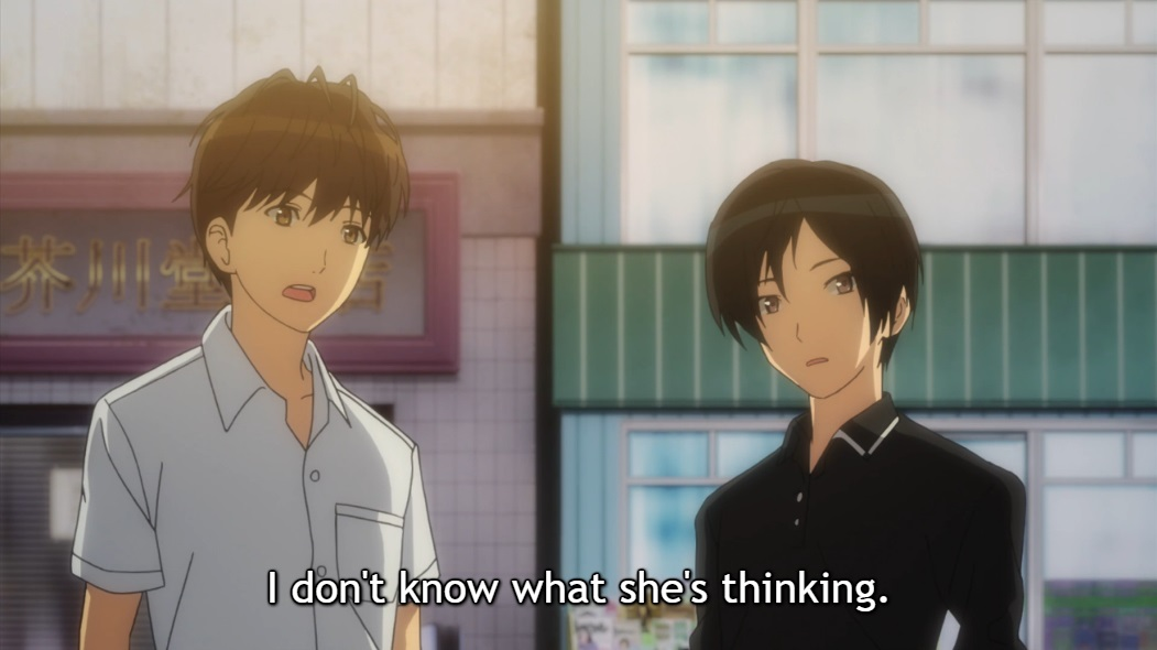 """Two boys stand together talking. Subtitle: """"I don't know what she's thinking."""""""