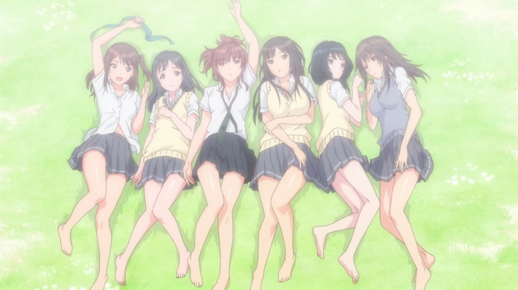 Six girls in school uniform with short skirts and bare legs lie next to each other on the ground in soft poses, looking up at the camera.