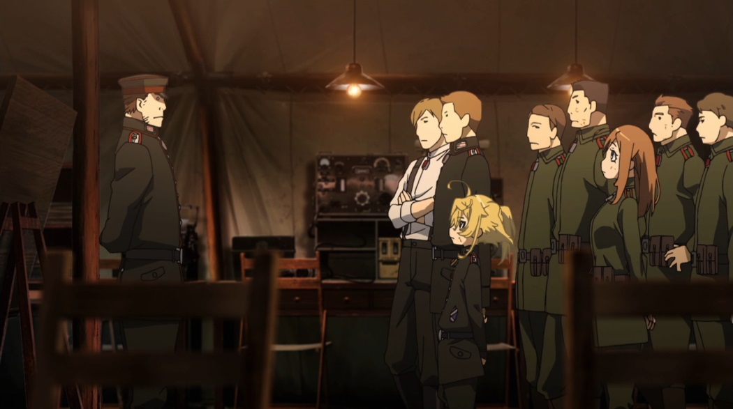 A group of a soldiers, including Tanya and her subordinates, face her superior officer giving them orders in a dark room.