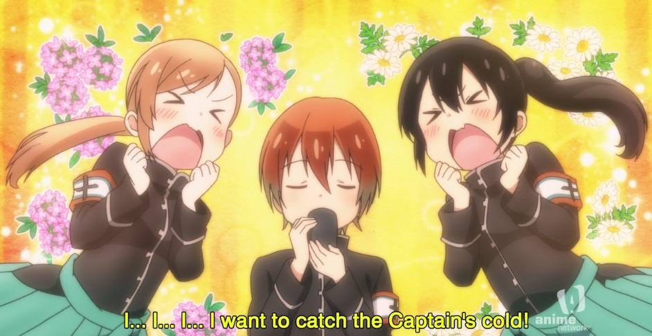 """Short haired captain Saku is flanked by two of her subordinates, both thinking the same thing as hard as they can. Subtitle: """"I... I... I... I want to catch the Captain's cold!"""""""