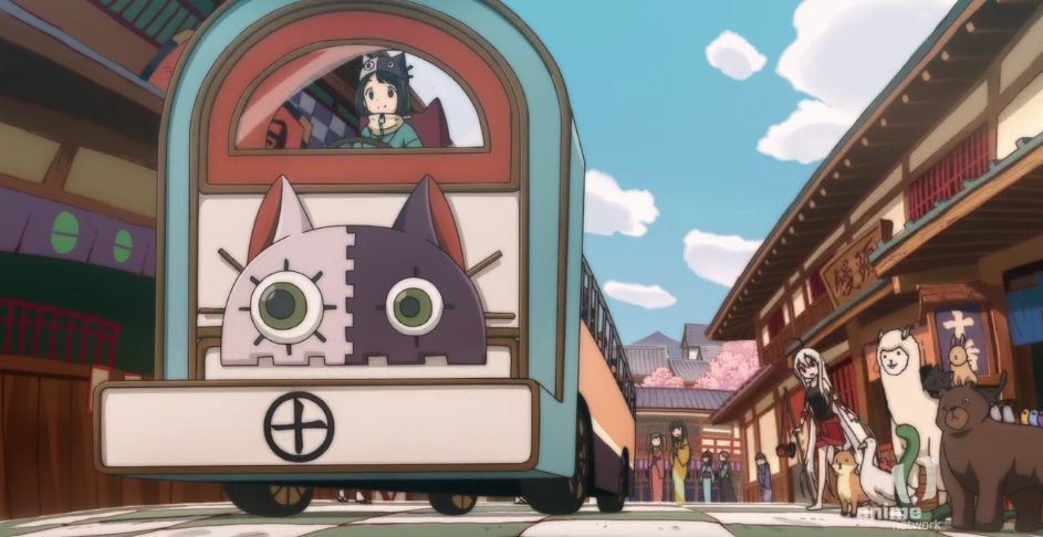 A bus with a cat's face decorating the front of it drives down a street in Edo Japan as Chiya and a group of animals look on in awe.
