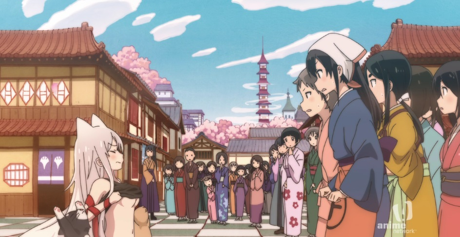 A crowd of women in traditional Japanese clothes in the middle of a beautiful Edo-era street with sakura blossoms and a blue sky in the background, look on in horror as Chiya raises her shirt all the way up to her breasts.