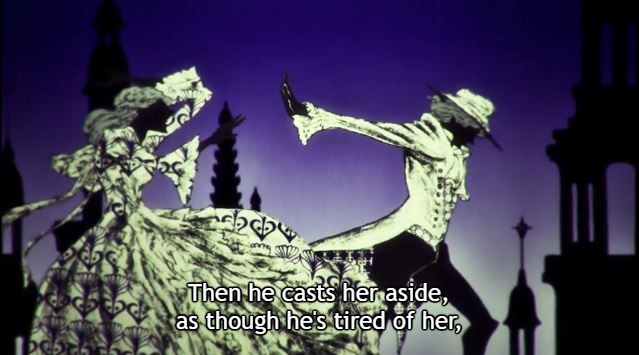 """Shadow images of a featureless man and woman in 18th century clothes, the man walking away from the woman as she reaches out to him, the story behind the """"On Love: Eros"""" fairytale from Yuri!!! On Ice. Subtitle: """"Then he casts her aside, as though he's tired of her,"""""""
