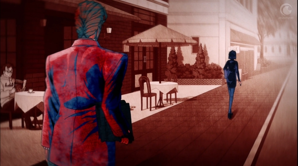 A stylised image of Reimi's killer, in a suit with a briefcase, following her as she walks down the street.