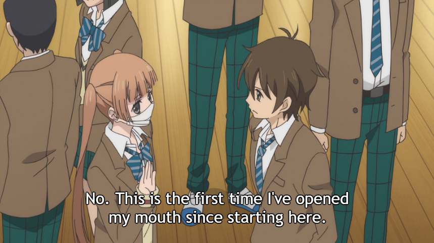 "Alice in her mouth mask and school uniform, talking to an old classmate in their first day assembly at school. Subtitle: ""No. This is the first time I've opened my mouth since starting here."""