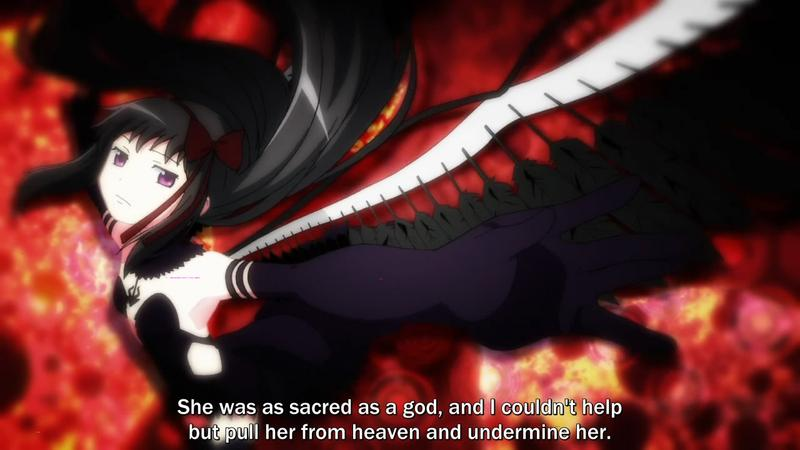 "Homura in her ""devil"" form at the end of Rebellion, in a slinky black dress with wings coming out of her back. She says ""She was sacred as a god, so I couldn't help but pull her from heaven and undermine her"""