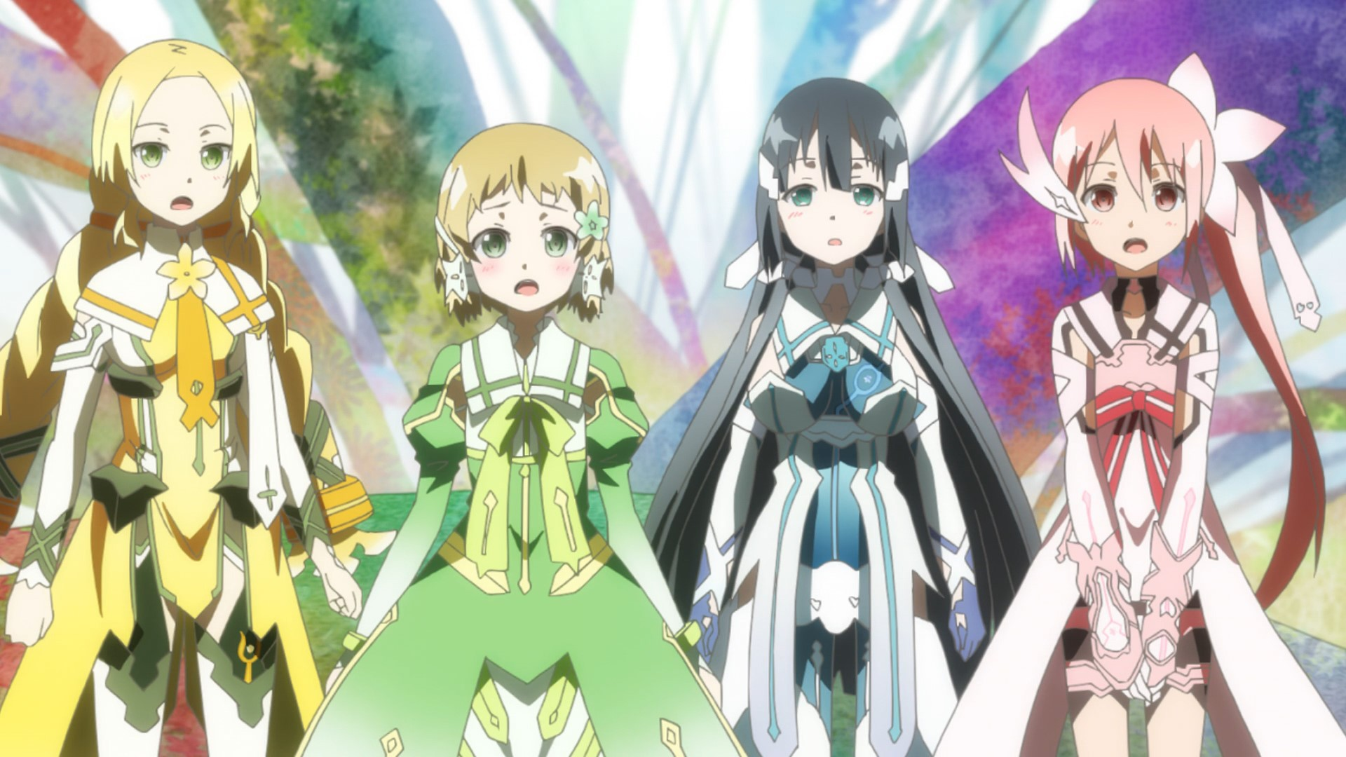 The core cast of Yuki Yuna in their magical girl costumes; they are floral, pastel, and cute, and the characters are looking at something offscreen in shock and awe
