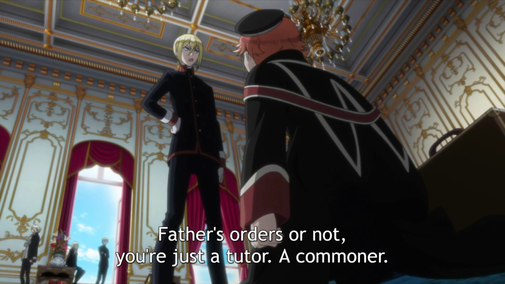 "Leonhard stands with one hand on his hip, looking at down at Heine while he kneels. Subtitle: ""Father's orders or not, you're just a tutor. A commoner."""