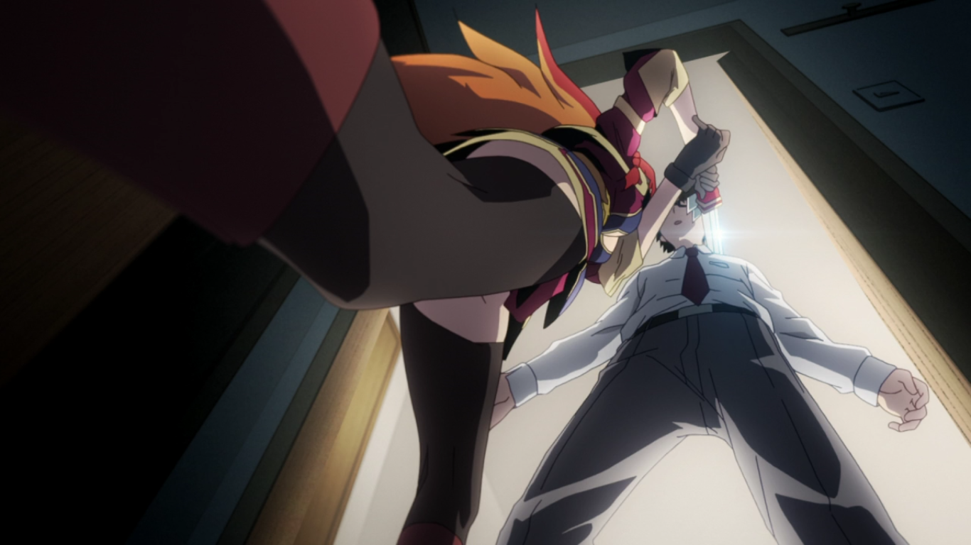 An extreme low angle shot of Selesia holding a sword against Sota's throat, showing her covered thighs and short skirt but no panty shot in sight.