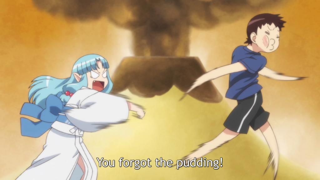 "Kiriha hits Kazuya because he didn't anticipate her every whim. Subtitle: ""You forgot the puddling!"""