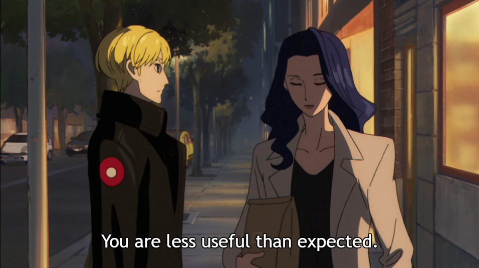 "Mauve walks away from subordinate Jean in the street at night. Subtitle: ""You are less useful than expected."""
