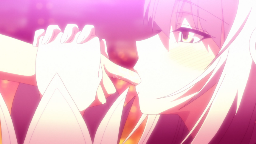 RyuZU holds Naoto's hand in hers, sucking on his outstretched finger.