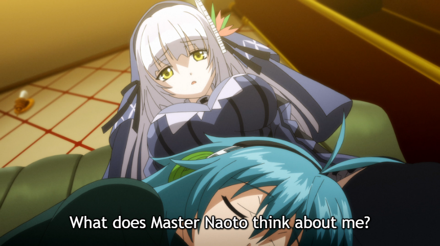 "RyuZU looks down at Naoto, who sleeps on her lap, looking worried. Subtitle: ""What does Master Naoto think about me?"""