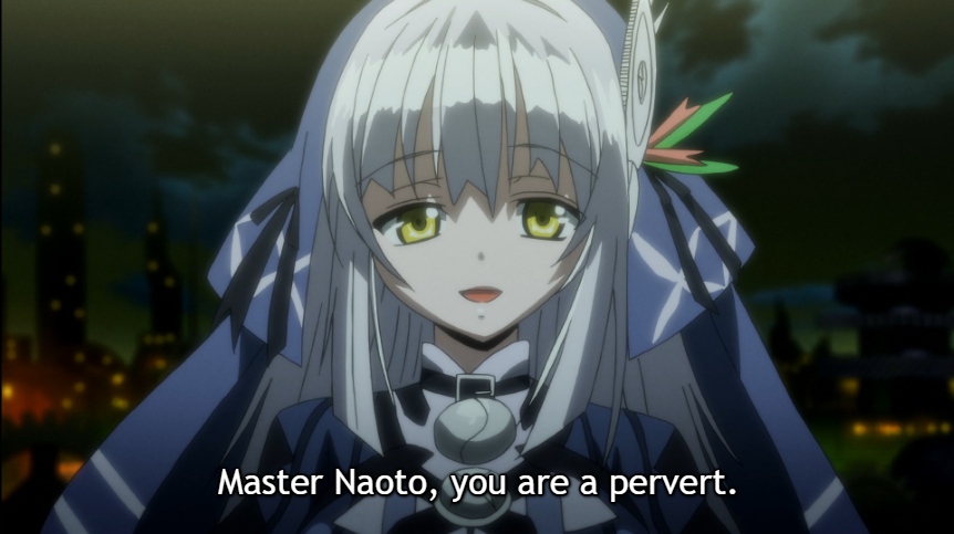 "RyuZU, with a sweet smile. Subtitle: ""Master Naoto, you are a pervert."""