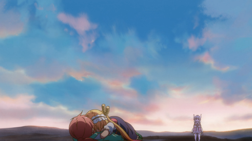 Tohru embraces Miss Kobayashi on the ground while Kanna stands a short distance away, watching them.
