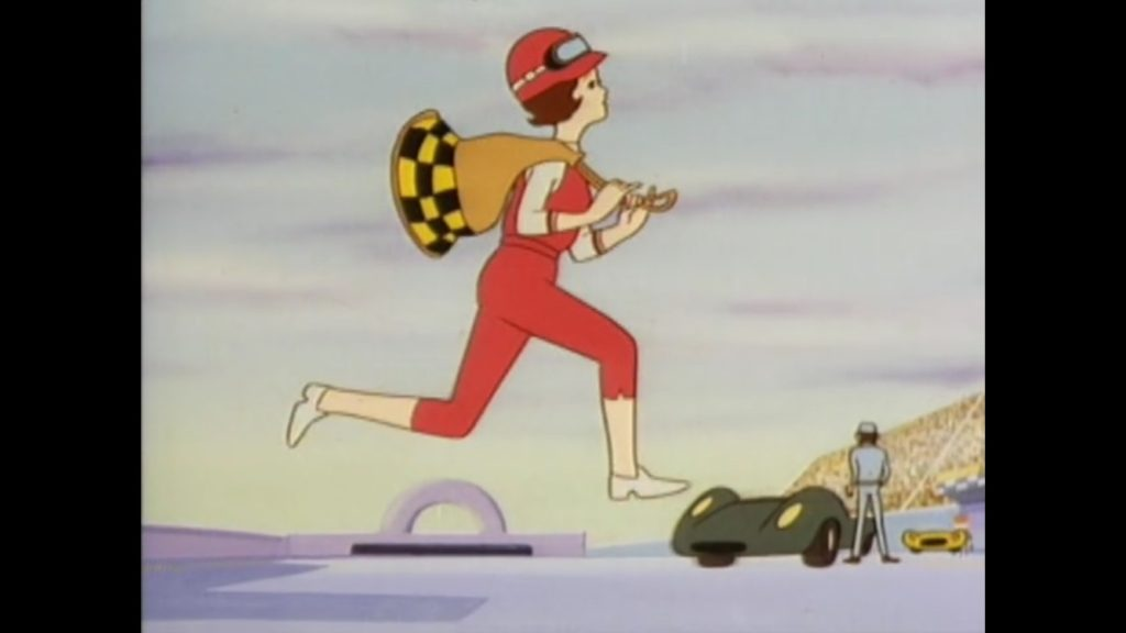 Trixie hops to it, running in her pink but practical jumpsuit and helmet, carrying a duffle bag.