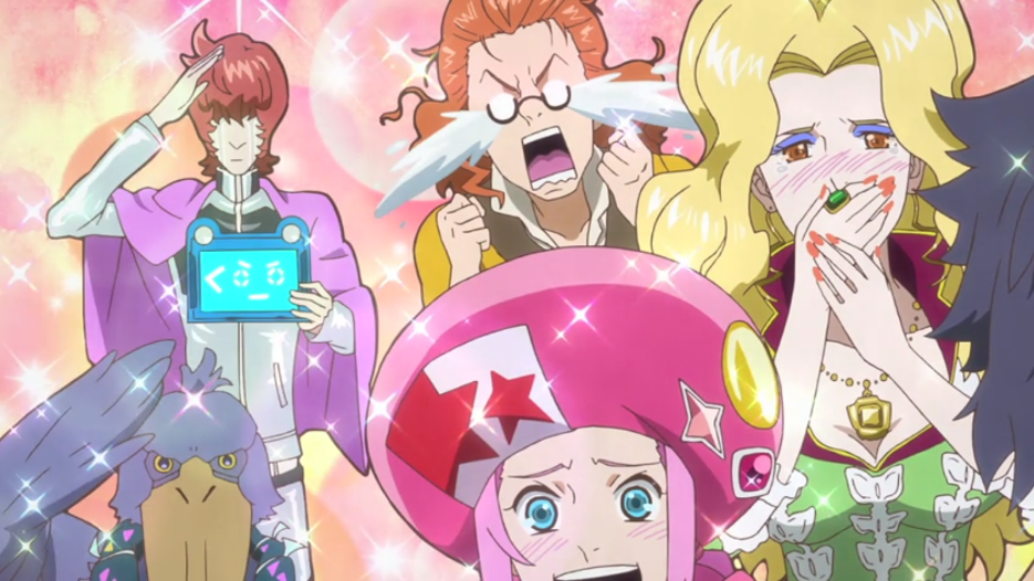 The cartoony ClassicaLoid characters stand in front of a sparkling background, some crying big gushes of tears, some saluting and some with delighted smiles.