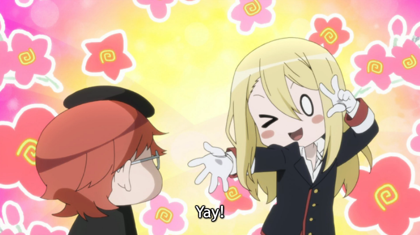 "Super-deformed royal tutor and prince, who is smiling, winking and doing the peace sign in front of a bright, flowery background. Subtitle: ""Yay!"""