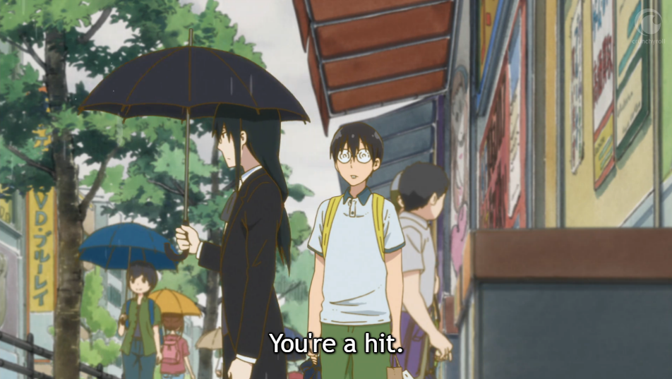"Fafnir holds an umbrella and says ""You're a hit"" as he walks past a bemused Takiya."