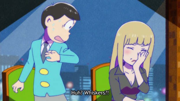 "One of the Osomatsu brothers jumps back from an upset woman covering her face. Subtitle: ""Huh? Whiskers?!"""
