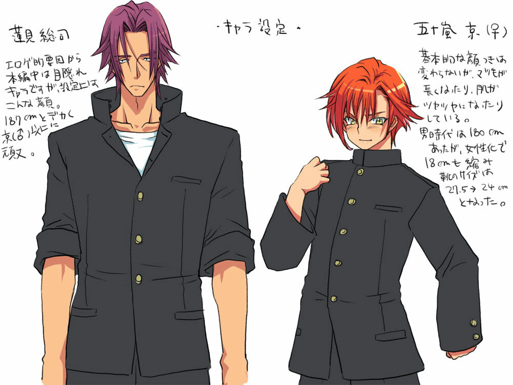 Character design page: A tall, broad-shouldered boy stands next to a shorter, more petite character; both wear traditional boys' uniforms