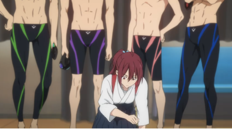 A girl in traditional Japanese clothes kneels, looking at something on the ground, with four boys in swim trunks shown from the chest-down behind her