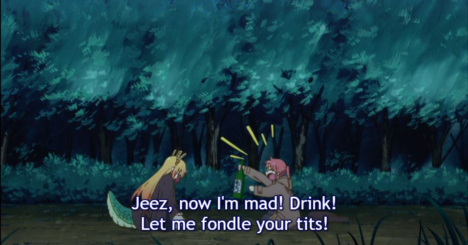 """A woman with red hair holds a bottle of sake and yells at a woman with dragon horns and a tail. Subtitles: """"Jeez, now I'm mad! Drink! Let me fondle your tits!"""""""