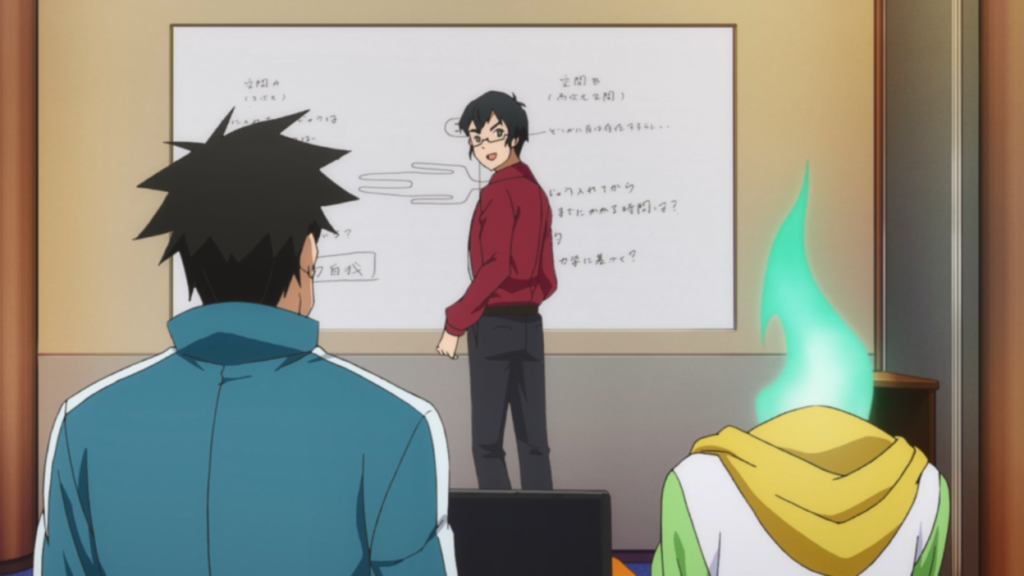 A man in business casual stands at a whiteboard with unreadable text, looking over his shoulder at a dark-haired man and a person with a green flame for a head (shown from behind)