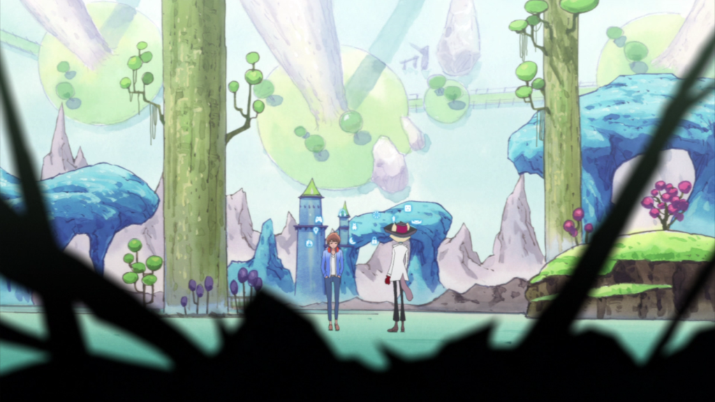 A boy and an anthropomorphic cat stand in a dreamscape forest of light blues and greens