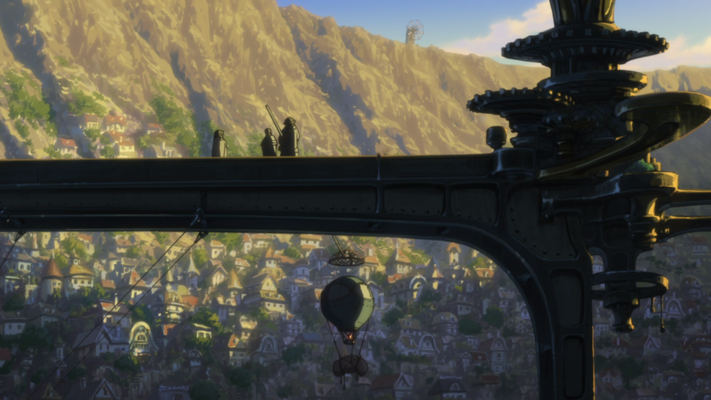 The sun sets over an old city, casting a platform in shadow as hot air balloons rise