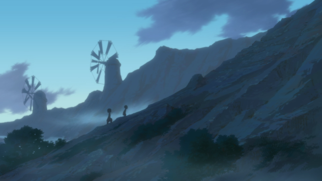 Two distant figures climb a foggy hill before dawn with windmills in the background