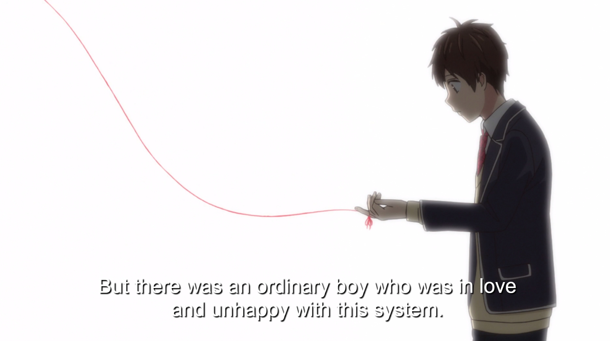 "A boy in school uniform stands, looking at the red string of fate tied to his finger. Subtitle: ""But there was an ordinary boy who was in love and unhappy with this system."""