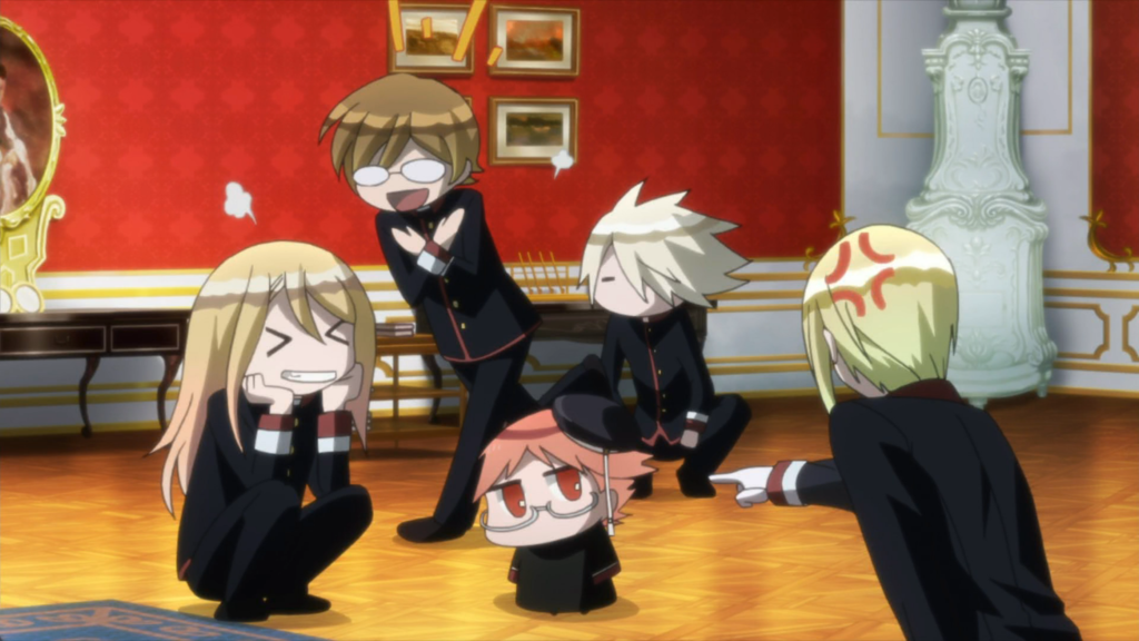 A redheaded chibi man in glasses stands at the center of a posh room; an angry blonde boy points at him, a white-haired boy crouches beside him, a brunette boy runs behind him gleefully, and a long-haired boy sits next to him grinning
