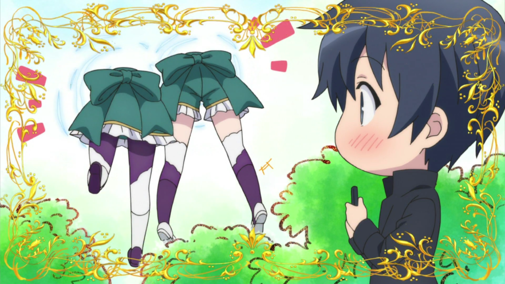 A dark-haired boy blushes as two girls stick their heads through a portal, so all he can see is their backsides