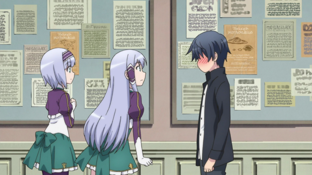 A dark-haired boy blushes in embarrassment while two gray-haired girls look at him, surprised.