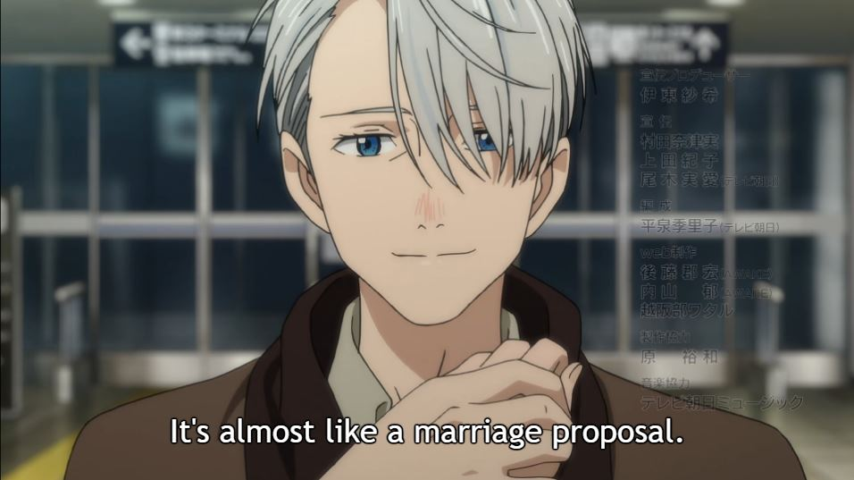Victor, smiling and holding Yuri's hand.Dialogue: It's almost like a marriage proposal